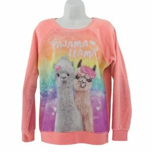 Pajama Llama Soft Peach Pullover Sweatshirt 16-18